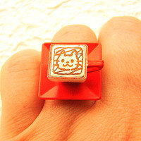 Coffee Ring Miniature Food Jewelry Cute Cat