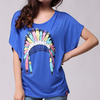 Indian Headwear Batwing Sleeve Loose T-shirt