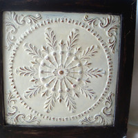 Cream Painted Shabby Chic Metal Wall Hanging, Framed Metal Tile, Cottage Chic Decor, Garden Decor, Gallery Wall
