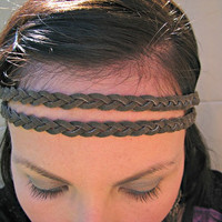 Braided Boho Hippie Headband, Dark Brown Suede Leather, Double Headband