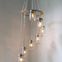 Mason Jar Chandelier Mason Jar Lighting Spiral by BootsNGus