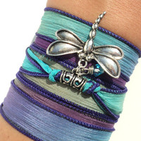 Silk Wrap Bracelet, Yoga Jewelry, Dragonfly, Boho Chic, Colorful, Hippie, Bohemian, Unique Gift For Her Birthday Under 50 Item S23