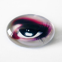 25x18mm handmade glass cabochon - grey doll eye - digital art print cabochon