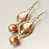 Cubic Zirconia, Freshwater Pearl and 14K Gold-Filled Earrings