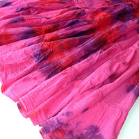 Tiered Maxi Skirt: Pink Peasant Skirt, Bohemian Tie Dye Hippie Skirt, Indian Cotton Full Flowy Boho Skirt