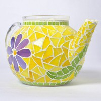 Spring Tea  -  stained glass mosaic tea pot | masterful-mosaics - Glass on ArtFire
