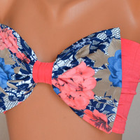 Padding coral floral bow swimsuit bikini top strappless bra bikini top bandeau bikini swimwear bandeau sun bathing women's fashion