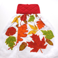 "Assorted Fall Leaves Hanging ""Pot Holder"" Top  Kitchen Towel Oven Door Hanger"