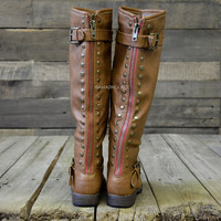 Wake Forest Chestnut Red Zipper Knee High Boots