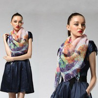 Autumn  Winter Female Ink Silk Scarf