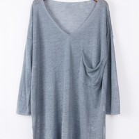 Whole Color Side Slit High-Low Sweater - OASAP.com