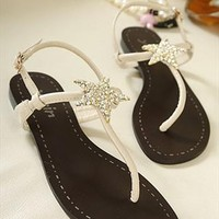 Cute Rhinestone Star Flat Sandals for Women Apricot HGO235