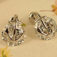 Anchor and Bright CZ Earrings Silver YUR509
