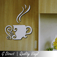 Coffee Tea Cup Mirror Acrylic Wall Sticker Bedroom Kitchen Home Cafe Shop Decor