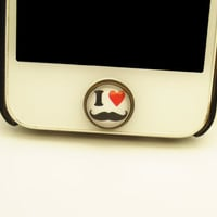 1PC  I Love Mustache Alloy iPhone Home Button Sticker for iPhone 4,4s,4g, iPhone 5, iPad, Cell Phone Charm, Back to School Gift for Boy