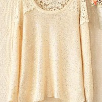 Round collar hollow-out crochet stitching sequins sweater from Fanewant