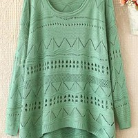 Loose edge round neck long sleeve hollow-out green sweater from Fanewant