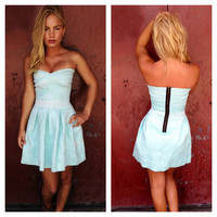 Angel Blue Strapless Bandage Dress