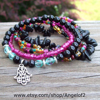 Midnight Garden - Bohemian Hippie Stretch Bracelets with Hamsa Charm and Black Onyx