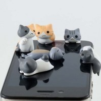 6pcs Cheese Cat 3.5mm Anti Dust Earphone Jack Plug Stopper Cap for Iphone HTC:Amazon:Cell Phones & Accessories