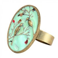 World Pride Retro Blue Glazed Tree Flower Bird Pattern Adjustable Ring Vintage:Amazon:Jewelry