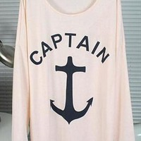 Big Anchor Print Shirt for Women