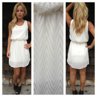Ivory Zig Zag Texture Dress