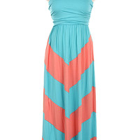 Aqua-Coral Chevron Maxi Dress- Plus Size