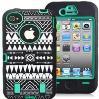 Thinkcase(TM) Tribal Pattern Tribal Design Combo Hard Soft High Impact iPhone 4 4S Armor Case Skin Gel Green with Thinkcase Design Stylus
