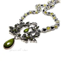 Elegant Olivine and Black Butterfly and Teardrop Statement Necklace