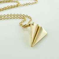 Paper plane necklace gold aeroplane necklace by AprilSparkles