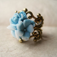 Ice Blue Rose Ring by PiggleAndPop