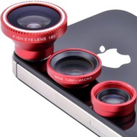 Patuoxun Fisheye Lens Wide Angle Macro Lens Photo Kit Set for iPhone5S iPhone5C 4 4S (Red)