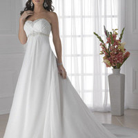 A-Line Princess Strapless Sweetheart Empire waist Satin Chiffon Wedding Dress - Basadress.com