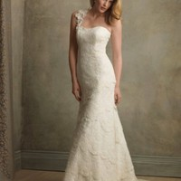 Organza and Satin One-shoulder Delicate Lace A-Line Wedding Dress - Basadress.com