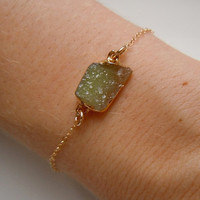 Druzy Bracelet in Lime Yellow by 443Jewelry on Etsy
