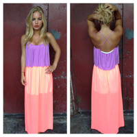 Lilac Rayon with Neon Coral Chiffon Maxi Dress