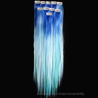 18'' 6pcs Synthetic Ombre Dip Dyed Hippie Hair Human Extension Clip in 27colors WGY57 Blue / Sky Blue / Light Blue:Amazon:Beauty