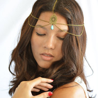 Chain Headpiece Boho Headband Hair Piece Bohemian Hipster Hippie Bronze Stella Single Bead Statement Jewelry