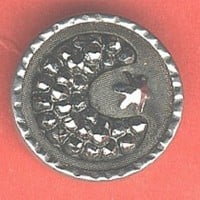 Moon star button with black glass moon and steel star antique BUTTON