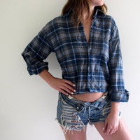 Plaid Shirt Flannel Womens Cropped Crop Top Tunic Button Up Down Blue Grunge Size Medium Baggie Oversized Western