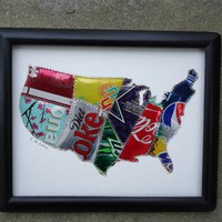 USA Map Soda Pop Can original Collage Fun and Funky Recycled Aluminum | creationsbyingrid - Collage on ArtFire