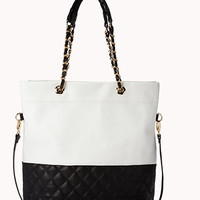 Quilted Faux Leather Tote