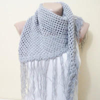Handmade scarf, Neck Warmer,  Women's, Fashion Accessories, Grey crochet scarf, tassels scarf, scarves, cowl, accessories, autumn finds
