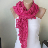 Neon Pink Cotton Scarf with tulle and lace by Periay on Etsy