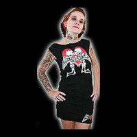 Triple long Love Skulls tee shirt dress