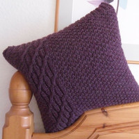 Purple Cushion / Throw Pillow Hand knitted in by TheFeminineTouch