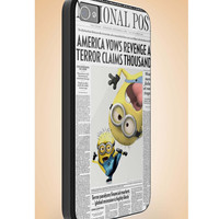 funny newspaper minions attack - iphone case cover- iPhone 4 / iPhone 4S / iPhone 5 / Samsung S2 / Samsung S3 / Samsung S4 Case Cover (YT )