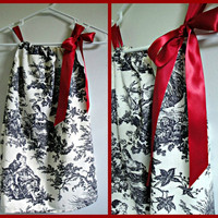 Black and White Toile Pillowcase Dress with by thepinkgiraffeshop