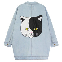 Patch cat leather washed long denim jacket